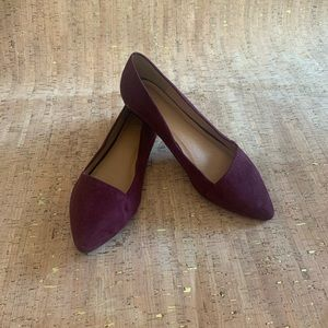 Cato Burgundy Colored Point Toe Ballet Slippers, 9
